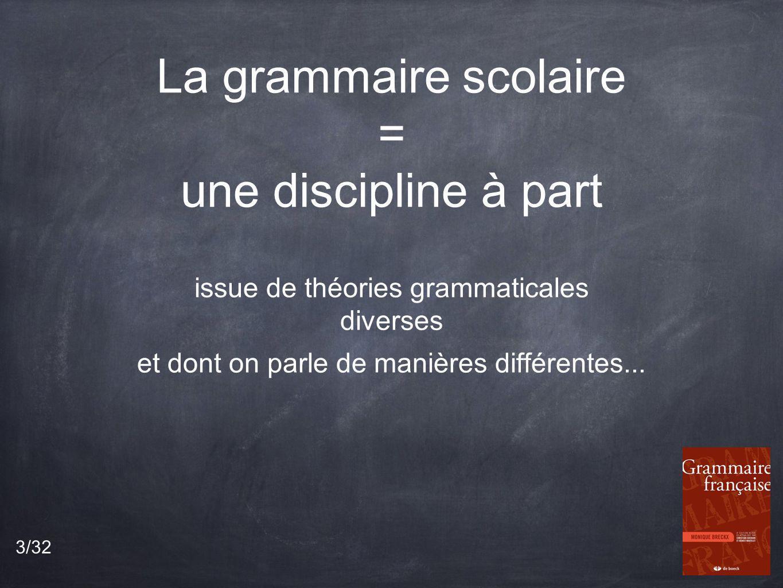 La grammaire scolaire = une discipline à part issue de théories grammaticales diverses et dont on parle de manières différentes...