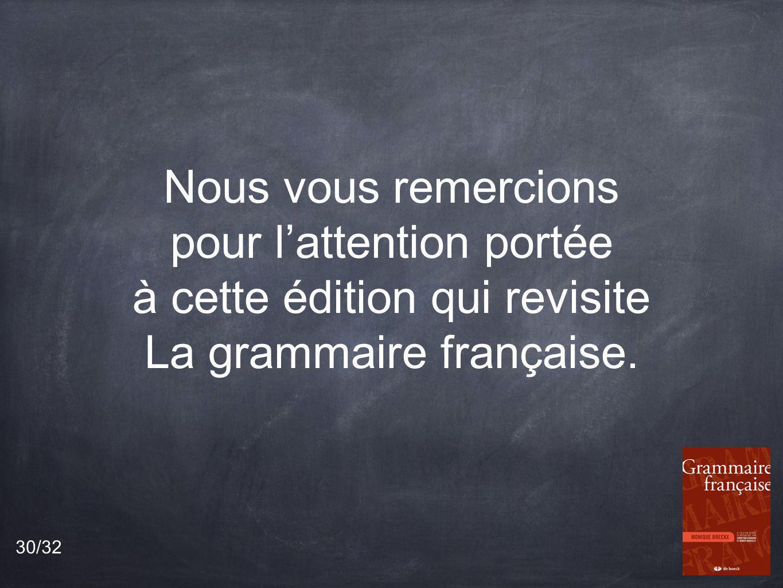 Nous vous remercions pour lattention portée à cette édition qui revisite La grammaire française.