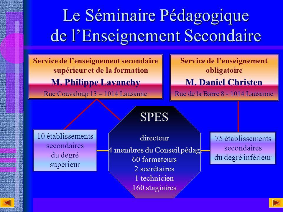 Adresses utiles Séminaire Pédagogique de lenseignement secondaire Av. de Cour 33 1007 Lausanne