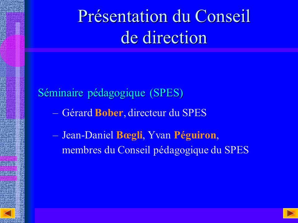 Présentation du Conseil de direction Séminaire pédagogique (SPES) –Gérard Bober, directeur du SPES –Jean-Daniel Bœgli, Yvan Péguiron, membres du Conseil pédagogique du SPES
