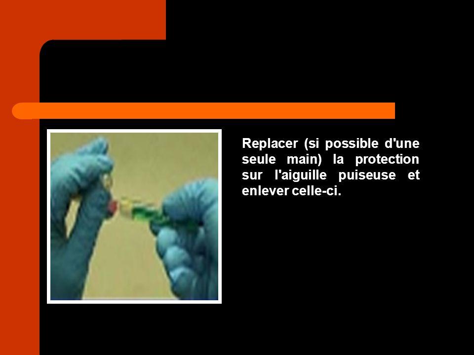 Replacer (si possible d'une seule main) la protection sur l'aiguille puiseuse et enlever celle-ci.