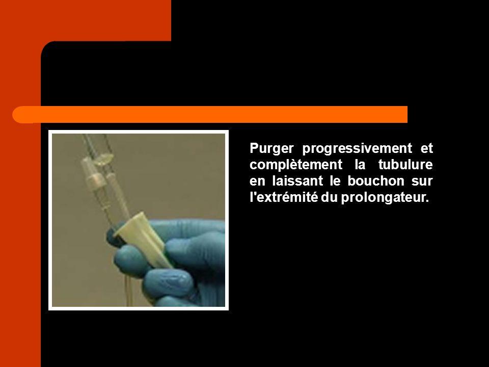 Purger progressivement et complètement la tubulure en laissant le bouchon sur l'extrémité du prolongateur.