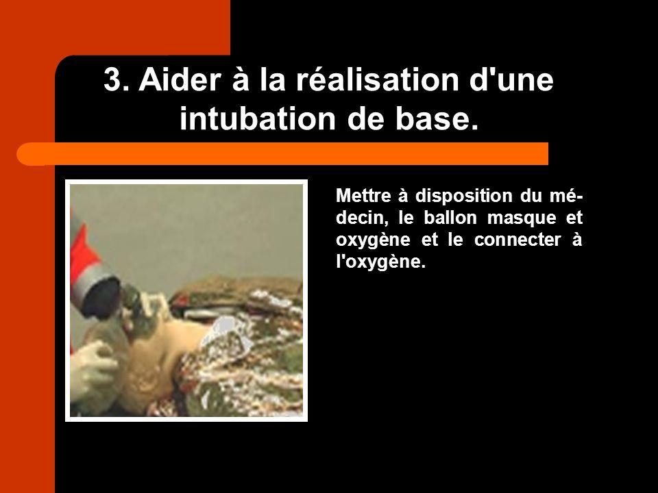 3. Aider à la réalisation d'une intubation de base. Mettre à disposition du mé- decin, le ballon masque et oxygène et le connecter à l'oxygène.
