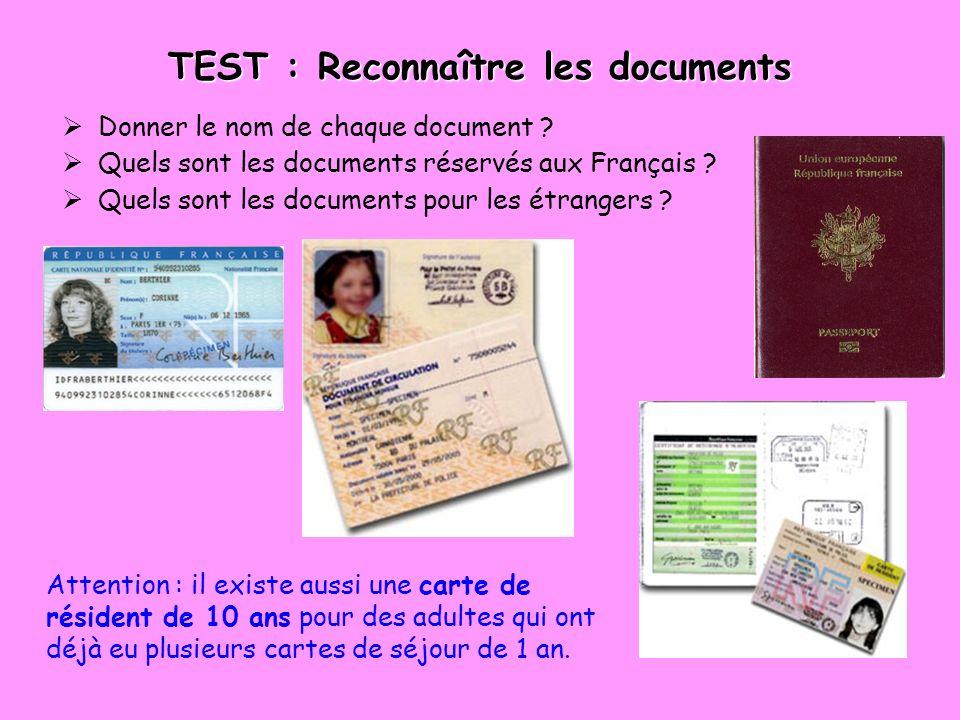 TEST : Reconnaître les documents Donner le nom de chaque document .