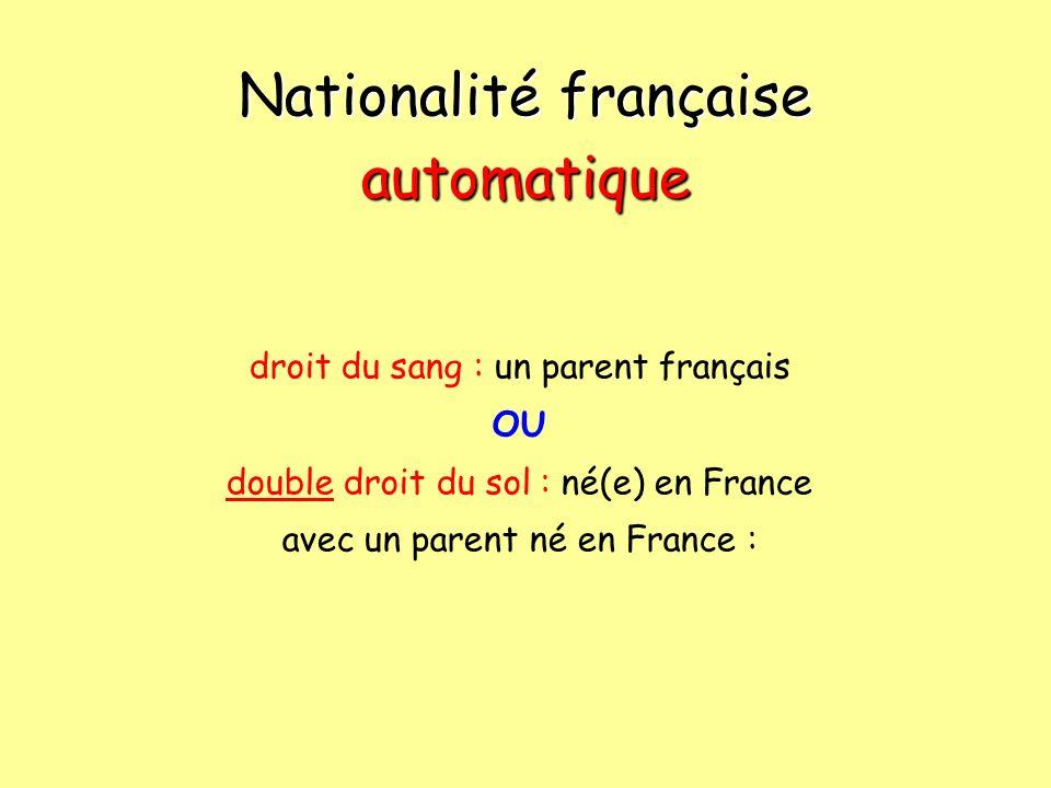 Nationalité française automatique droit du sang : un parent français OU double droit du sol : né(e) en France avec un parent né en France :