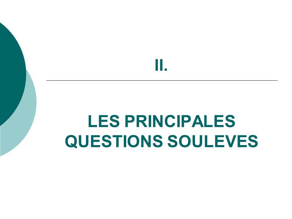 II. LES PRINCIPALES QUESTIONS SOULEVES