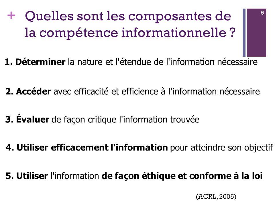 + 6 (ACRL, 2000)(SCONUL, 1999)(ANZIL, 2004)(MENRT, 1999) (2002) (2004) (2005, 2008) La compétence informationnelle en milieu universitaire
