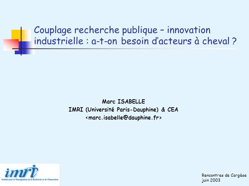 Couplage recherche publique – innovation industrielle : a-t-on besoin dacteurs à cheval ? Marc ISABELLE IMRI (Université Paris-Dauphine) & CEA Rencont