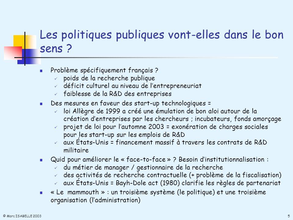 Les politiques publiques vont-elles dans le bon sens ? Problème spécifiquement français ? poids de la recherche publique déficit culturel au niveau de