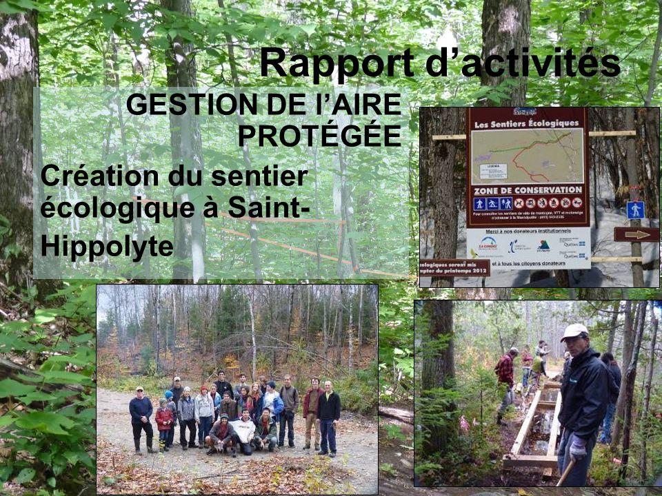 GESTION DE lAIRE PROTÉGÉE Création du sentier écologique à Saint- Hippolyte