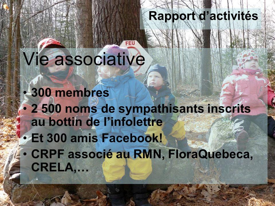 Vie associative 300 membres 2 500 noms de sympathisants inscrits au bottin de linfolettre Et 300 amis Facebook.