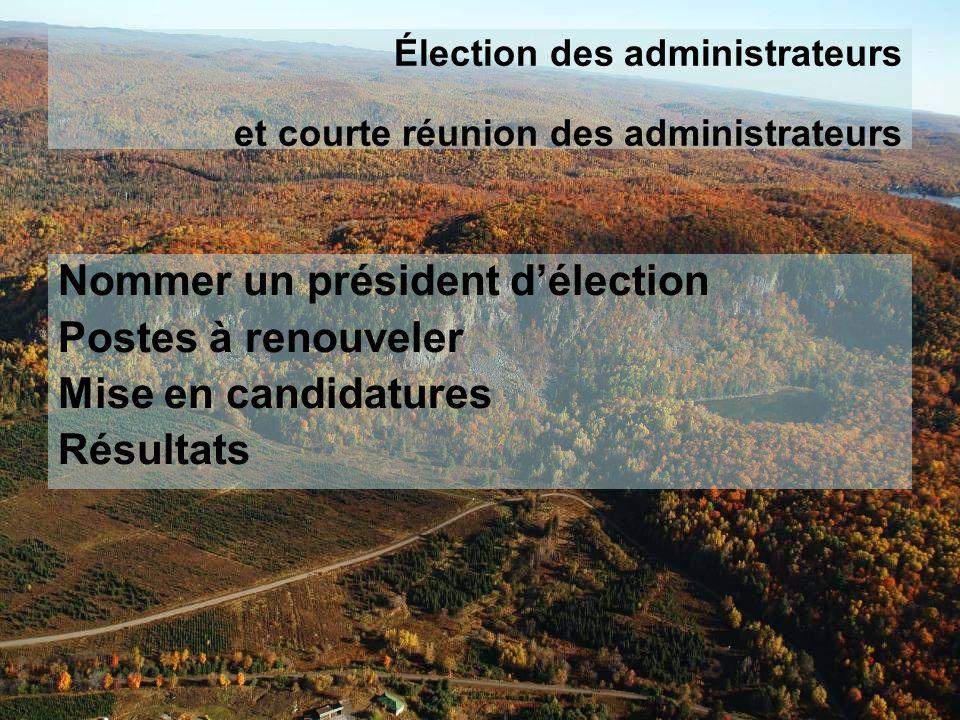 Élection des administrateurs et courte réunion des administrateurs Nommer un président délection Postes à renouveler Mise en candidatures Résultats