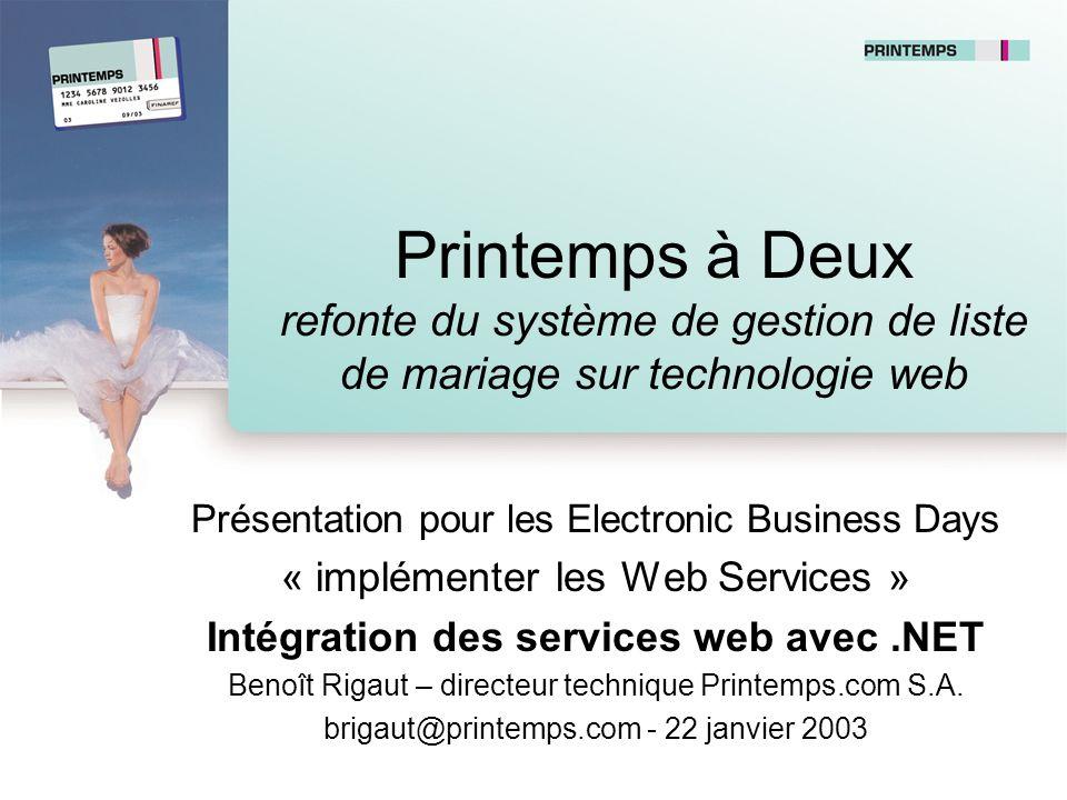 Printemps à Deux refonte du système de gestion de liste de mariage sur technologie web Présentation pour les Electronic Business Days « implémenter le