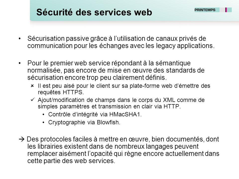 Sécurité des services web Sécurisation passive grâce à lutilisation de canaux privés de communication pour les échanges avec les legacy applications.