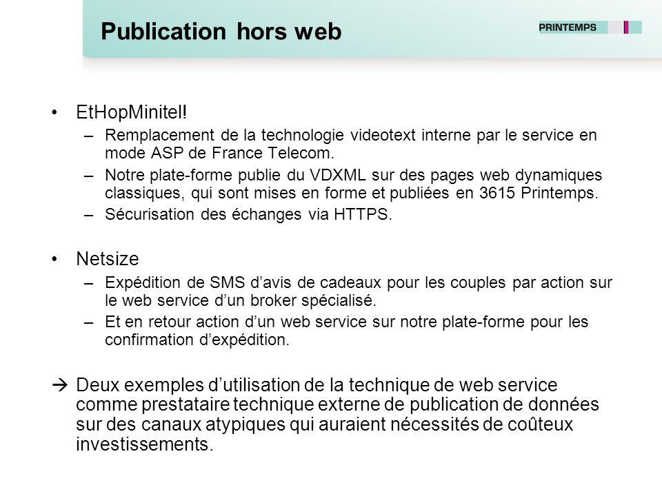 Publication hors web EtHopMinitel! –Remplacement de la technologie videotext interne par le service en mode ASP de France Telecom. –Notre plate-forme