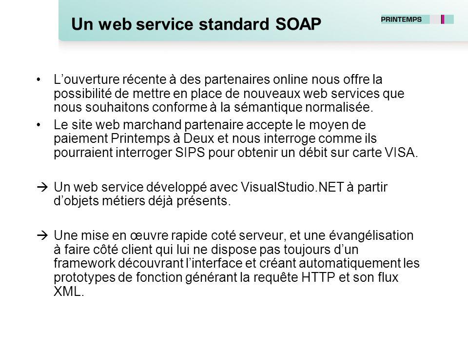 Un web service standard SOAP Louverture récente à des partenaires online nous offre la possibilité de mettre en place de nouveaux web services que nou