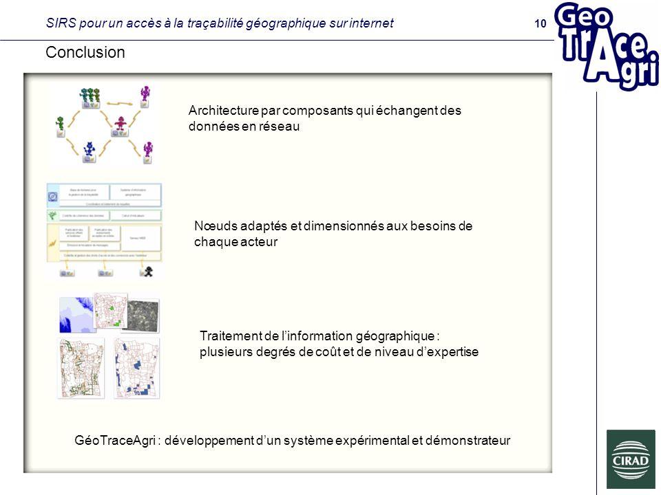 SIRS pour un accès à la traçabilité géographique sur internet Conclusion GéoTraceAgri : développement dun système expérimental et démonstrateur 10 Architecture par composants qui échangent des données en réseau Nœuds adaptés et dimensionnés aux besoins de chaque acteur Traitement de linformation géographique : plusieurs degrés de coût et de niveau dexpertise