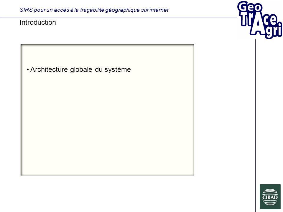 SIRS pour un accès à la traçabilité géographique sur internet Introduction Architecture globale du système