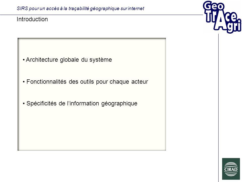 SIRS pour un accès à la traçabilité géographique sur internet Introduction Architecture globale du système Fonctionnalités des outils pour chaque acteur Spécificités de linformation géographique