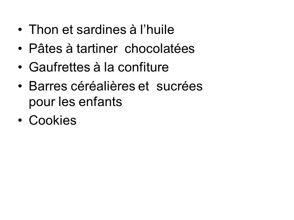 Thon et sardines à lhuile Pâtes à tartiner chocolatées Gaufrettes à la confiture Barres céréalières et sucrées pour les enfants Cookies