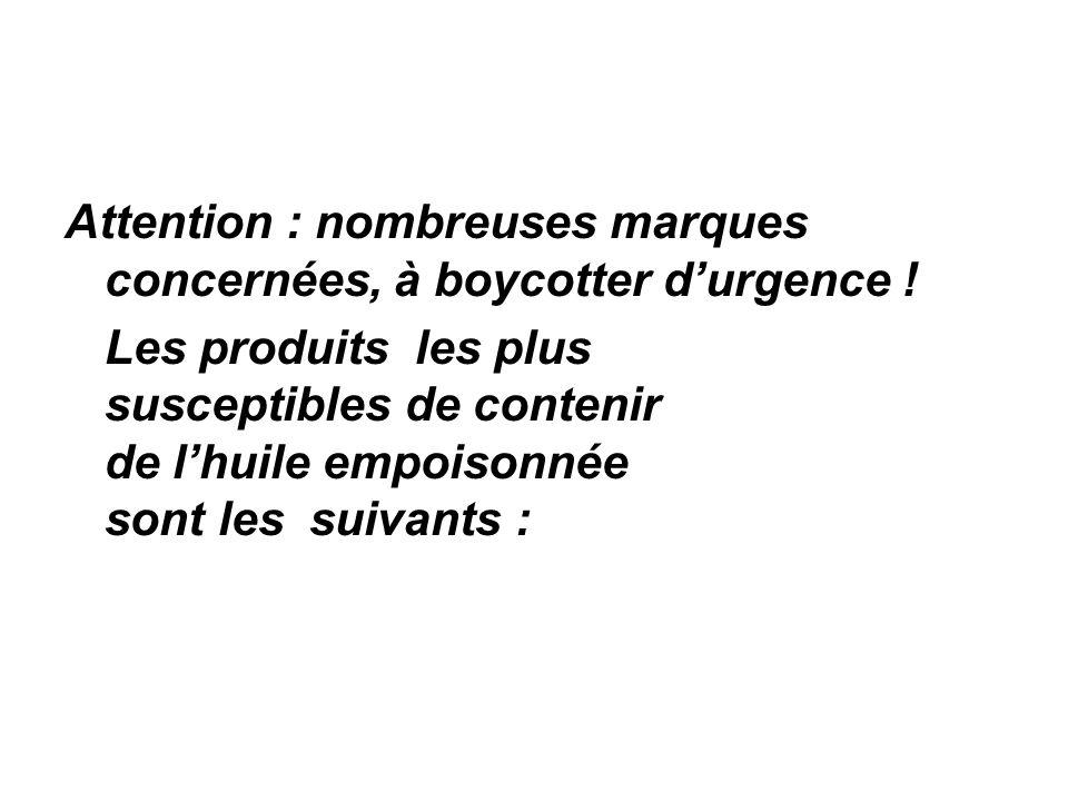 Attention : nombreuses marques concernées, à boycotter durgence .