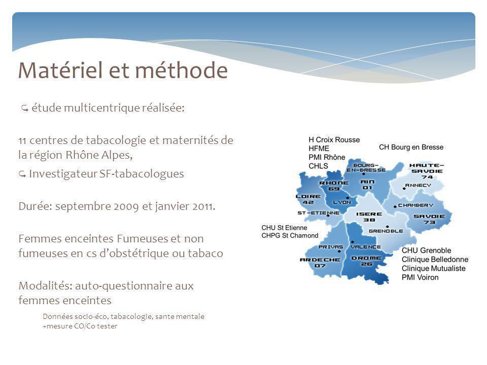 Matériel et méthode étude multicentrique réalisée: 11 centres de tabacologie et maternités de la région Rhône Alpes, Investigateur SF-tabacologues Durée: septembre 2009 et janvier 2011.