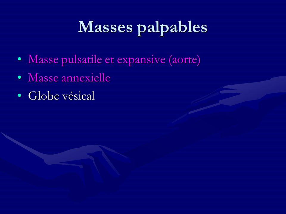 Masses palpables Masse pulsatile et expansive (aorte)Masse pulsatile et expansive (aorte) Masse annexielleMasse annexielle Globe vésicalGlobe vésical