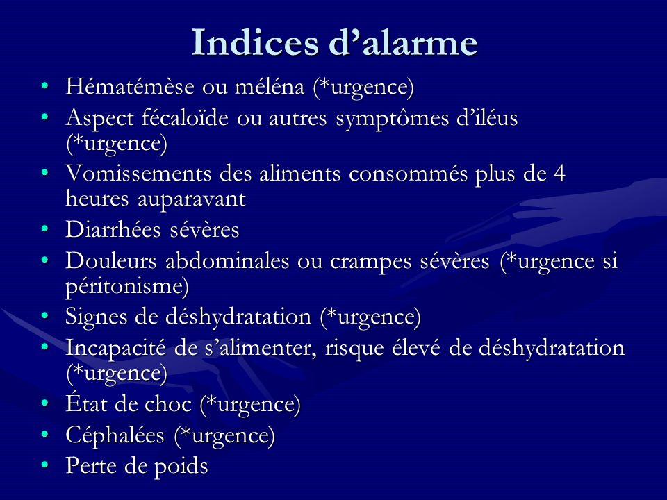 Indices dalarme Hématémèse ou méléna (*urgence)Hématémèse ou méléna (*urgence) Aspect fécaloïde ou autres symptômes diléus (*urgence)Aspect fécaloïde