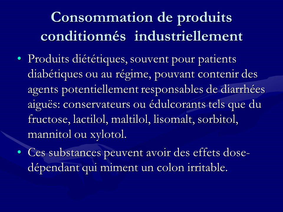 Consommation de produits conditionnés industriellement Produits diététiques, souvent pour patients diabétiques ou au régime, pouvant contenir des agen