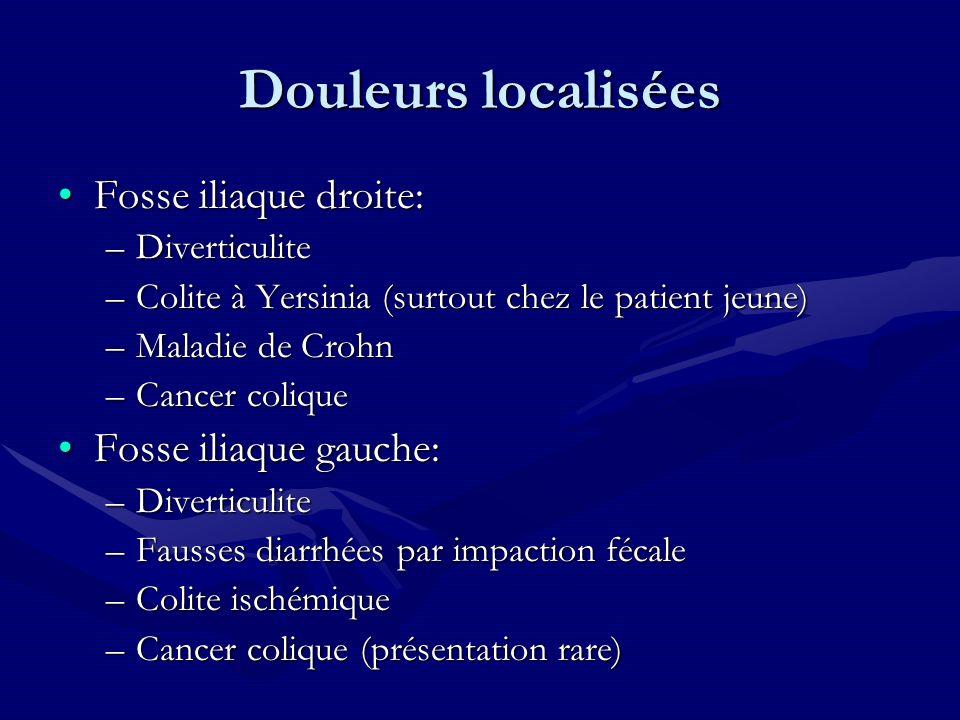 Douleurs localisées Fosse iliaque droite:Fosse iliaque droite: –Diverticulite –Colite à Yersinia (surtout chez le patient jeune) –Maladie de Crohn –Ca