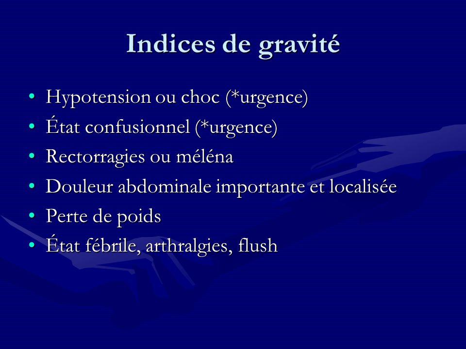 Indices de gravité Hypotension ou choc (*urgence)Hypotension ou choc (*urgence) État confusionnel (*urgence)État confusionnel (*urgence) Rectorragies
