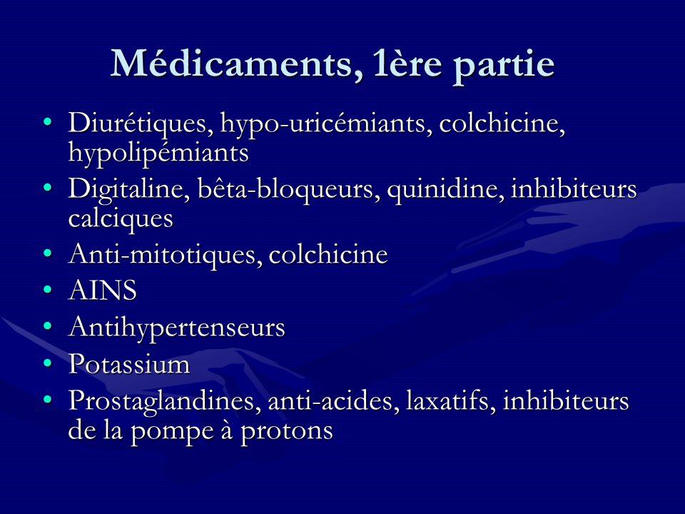 Médicaments, 1ère partie Diurétiques, hypo-uricémiants, colchicine, hypolipémiantsDiurétiques, hypo-uricémiants, colchicine, hypolipémiants Digitaline