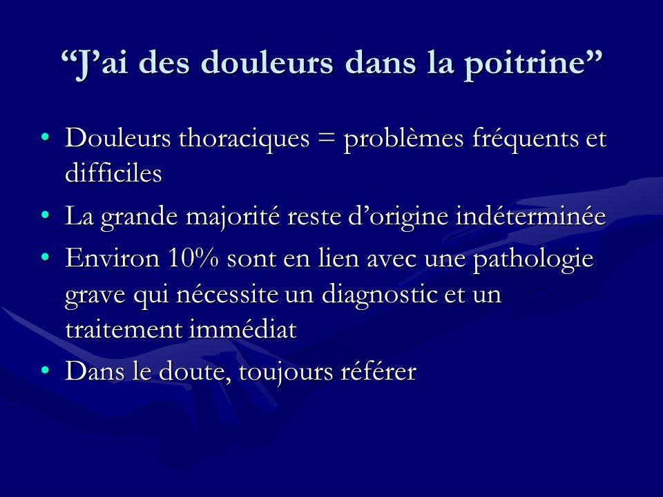 Douleurs thoraciques = problèmes fréquents et difficilesDouleurs thoraciques = problèmes fréquents et difficiles La grande majorité reste dorigine ind