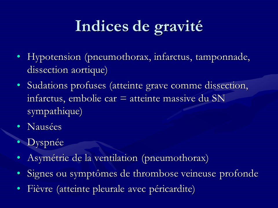 Indices de gravité Hypotension (pneumothorax, infarctus, tamponnade, dissection aortique)Hypotension (pneumothorax, infarctus, tamponnade, dissection