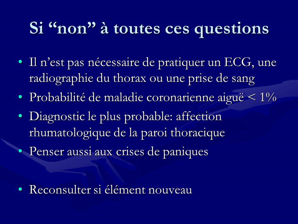 Si non à toutes ces questions Il nest pas nécessaire de pratiquer un ECG, une radiographie du thorax ou une prise de sangIl nest pas nécessaire de pra