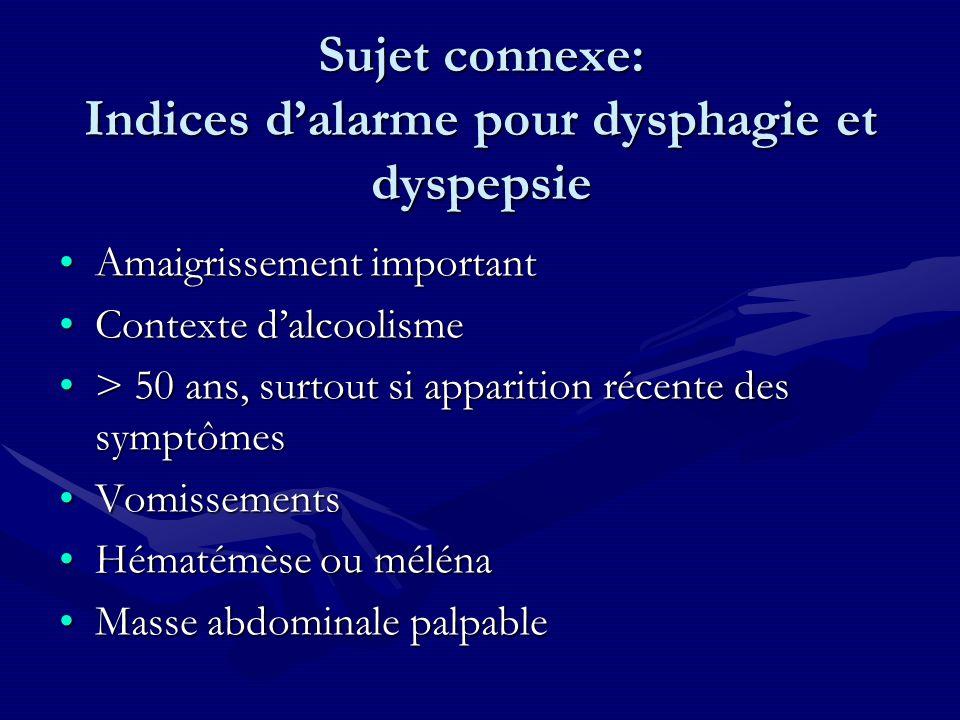 Sujet connexe: Indices dalarme pour dysphagie et dyspepsie Amaigrissement importantAmaigrissement important Contexte dalcoolismeContexte dalcoolisme >