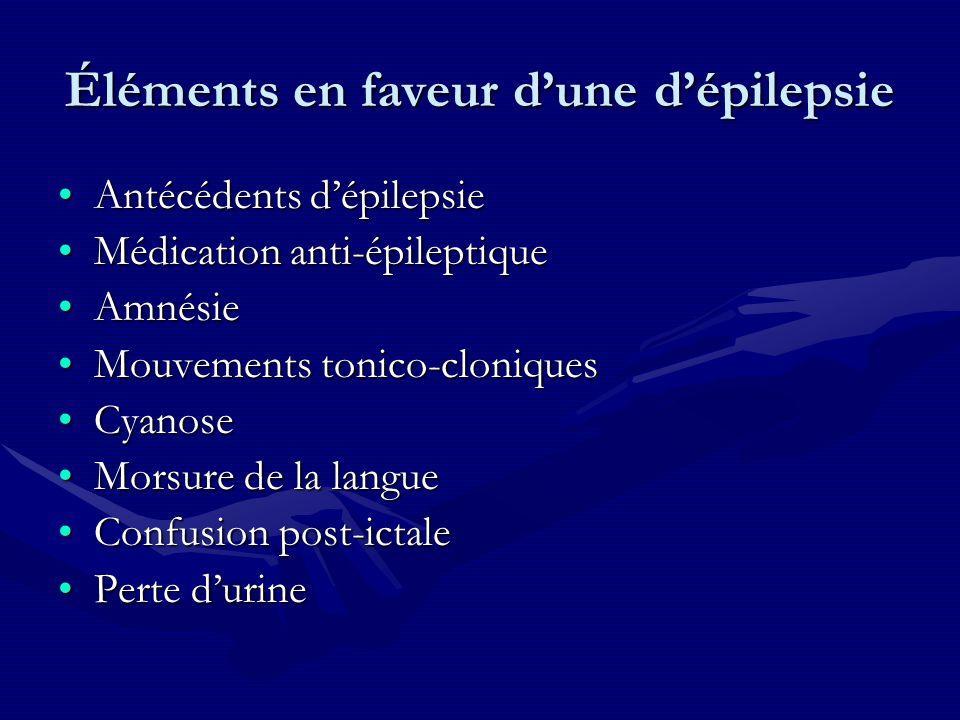 Éléments en faveur dune dépilepsie Antécédents dépilepsieAntécédents dépilepsie Médication anti-épileptiqueMédication anti-épileptique AmnésieAmnésie