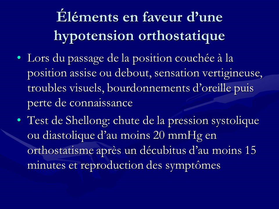 Éléments en faveur dune hypotension orthostatique Lors du passage de la position couchée à la position assise ou debout, sensation vertigineuse, troub