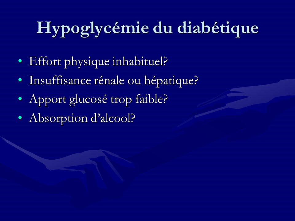 Hypoglycémie du diabétique Effort physique inhabituel?Effort physique inhabituel? Insuffisance rénale ou hépatique?Insuffisance rénale ou hépatique? A