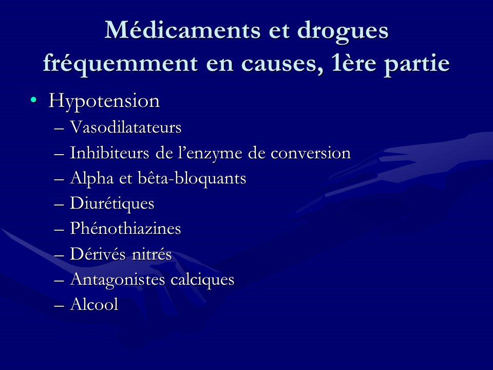 Médicaments et drogues fréquemment en causes, 1ère partie HypotensionHypotension –Vasodilatateurs –Inhibiteurs de lenzyme de conversion –Alpha et bêta