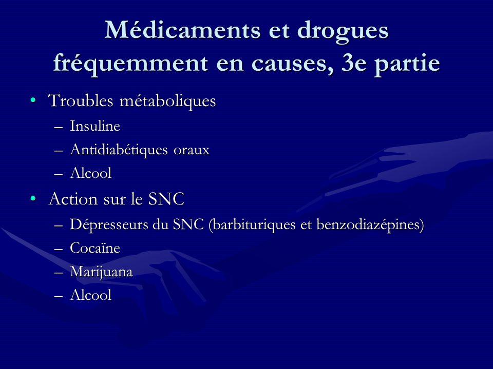 Médicaments et drogues fréquemment en causes, 3e partie Troubles métaboliquesTroubles métaboliques –Insuline –Antidiabétiques oraux –Alcool Action sur