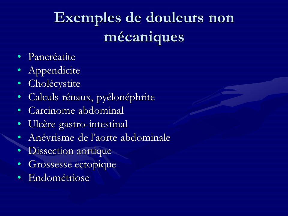Exemples de douleurs non mécaniques PancréatitePancréatite AppendiciteAppendicite CholécystiteCholécystite Calculs rénaux, pyélonéphriteCalculs rénaux