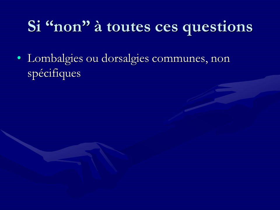 Si non à toutes ces questions Lombalgies ou dorsalgies communes, non spécifiquesLombalgies ou dorsalgies communes, non spécifiques
