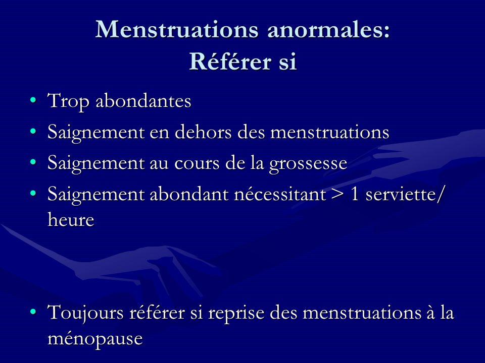 Menstruations anormales: Référer si Trop abondantesTrop abondantes Saignement en dehors des menstruationsSaignement en dehors des menstruations Saigne
