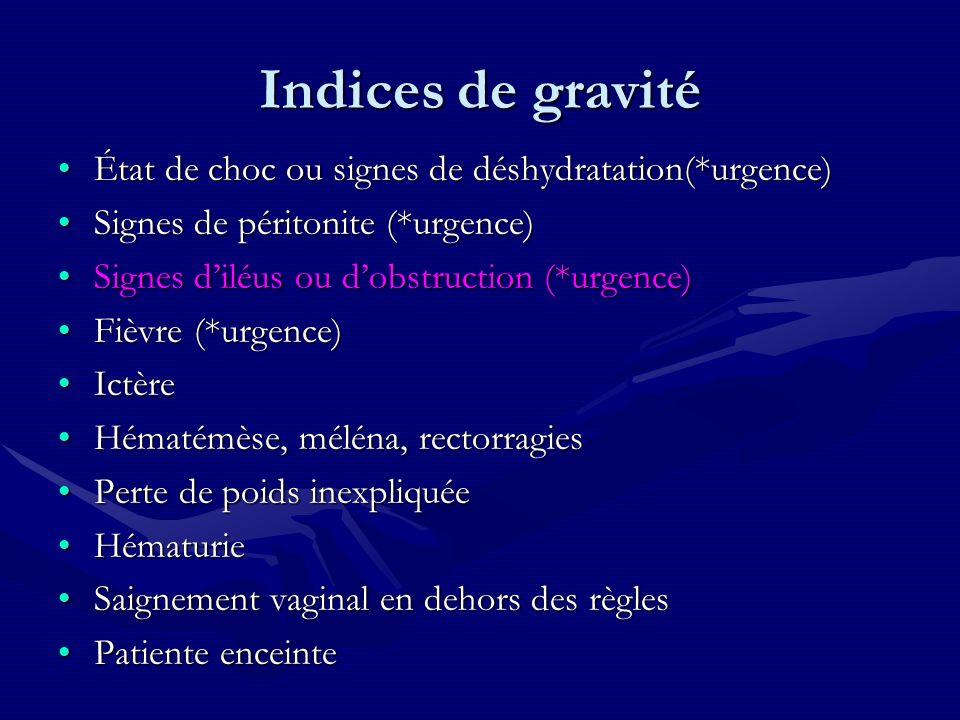 Indices de gravité État de choc ou signes de déshydratation(*urgence)État de choc ou signes de déshydratation(*urgence) Signes de péritonite (*urgence