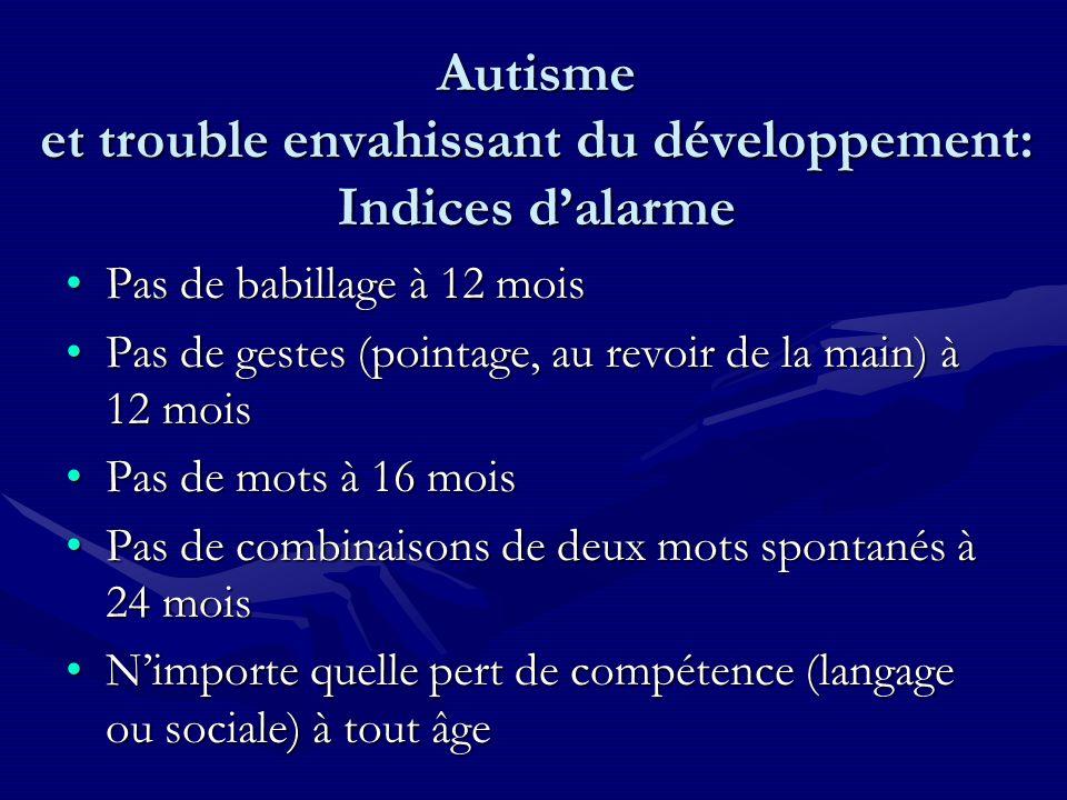 Autisme et trouble envahissant du développement: Indices dalarme Pas de babillage à 12 moisPas de babillage à 12 mois Pas de gestes (pointage, au revo