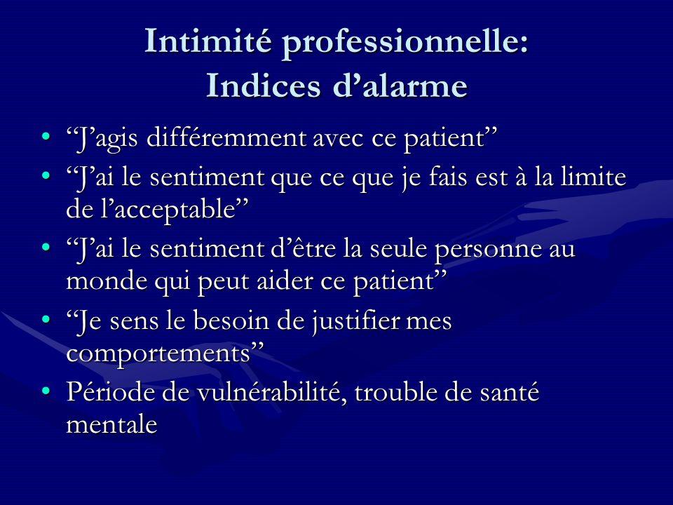 Intimité professionnelle: Indices dalarme Jagis différemment avec ce patientJagis différemment avec ce patient Jai le sentiment que ce que je fais est