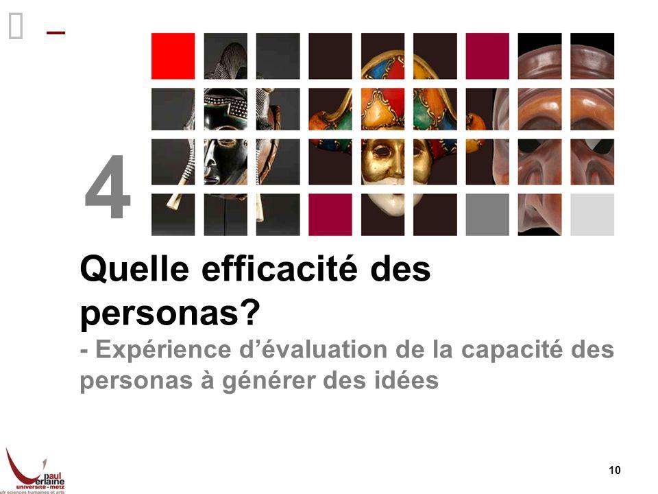Quelle efficacité des personas? - Expérience dévaluation de la capacité des personas à générer des idées 4 10