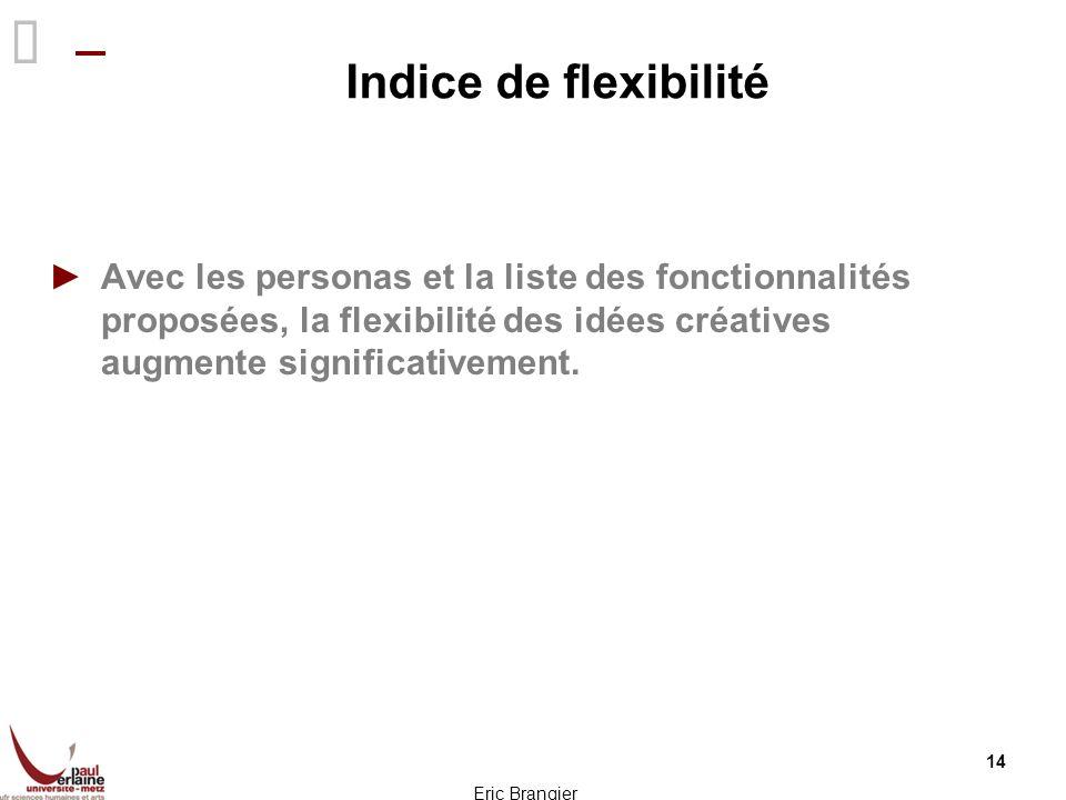 Indice de flexibilité Avec les personas et la liste des fonctionnalités proposées, la flexibilité des idées créatives augmente significativement. 14 E