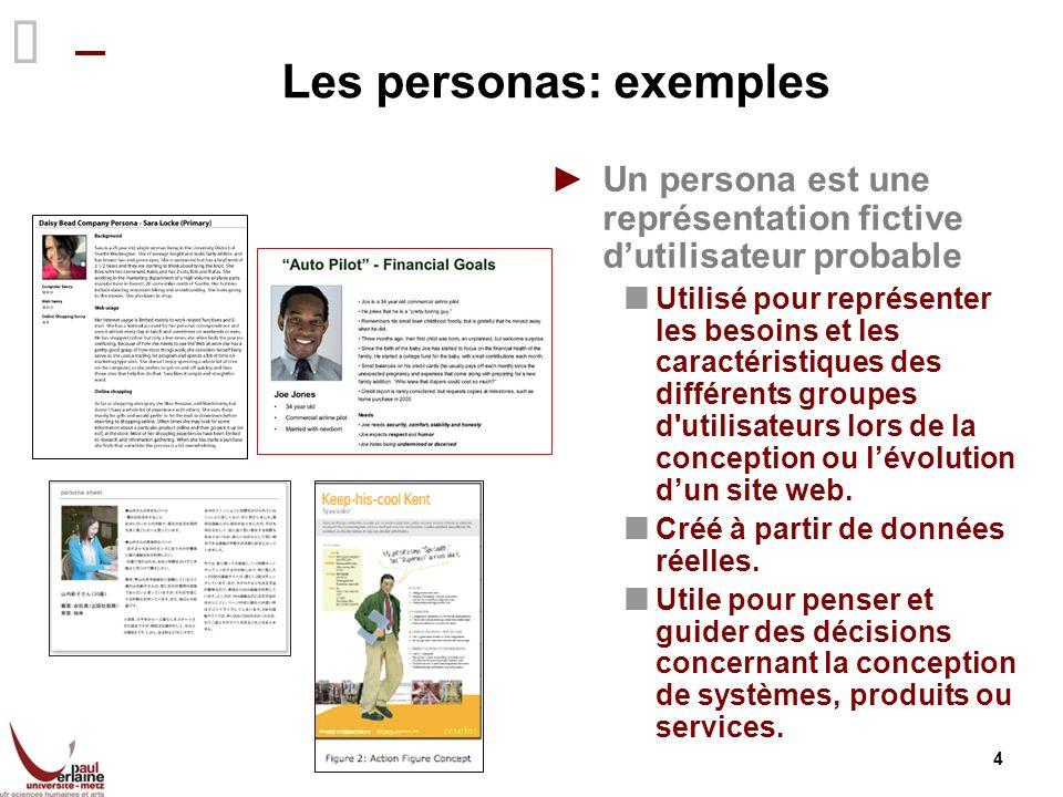 4 Les personas: exemples Un persona est une représentation fictive dutilisateur probable Utilisé pour représenter les besoins et les caractéristiques